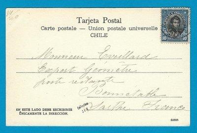 CHILE picture post card Kiosco 1913 Ambulancia 51 to France