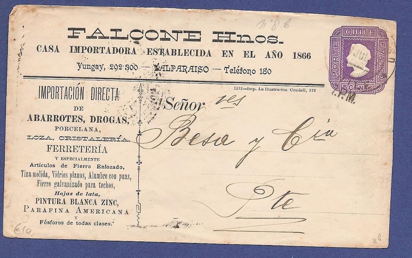 CHILE illustrated postal envelope 1917 (?) Valparaiso
