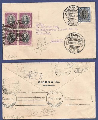 CHILE cover 1930 Talcahuano to Netherlands