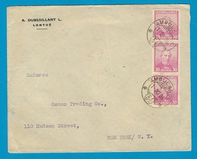 CHILE cover 1936 Lontué with Ambulancia 54 to USA