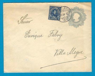 CHILE uprated postal envelope 1912 with Ambulancia 55 to Villa Alegre