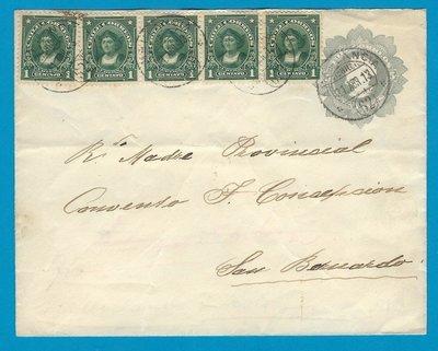 CHILE uprated envelope 1913 Ambulancia 62