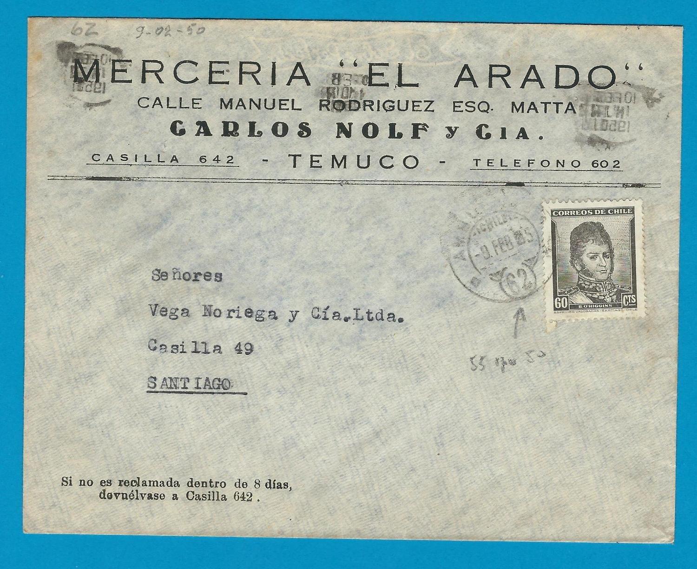 CHILE cover 1950 Temuco with Ambulancia 62 cancel error