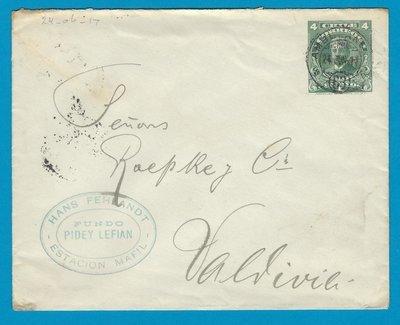 CHILE postal envelope 1917 Est Mafil with Ambulancia 63
