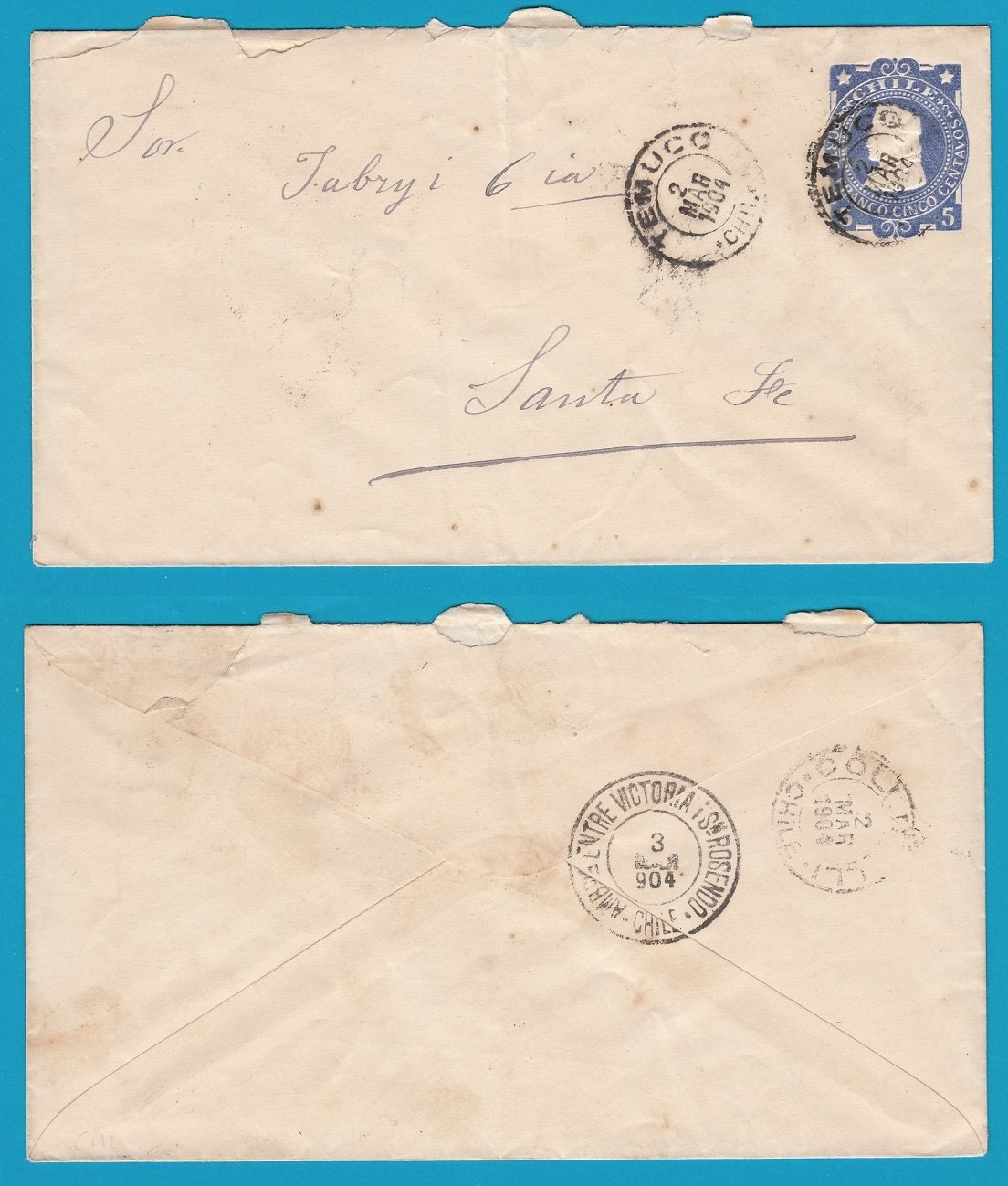 CHILE envelope 1904 Ambulancia Victoria y San Rosendo on back