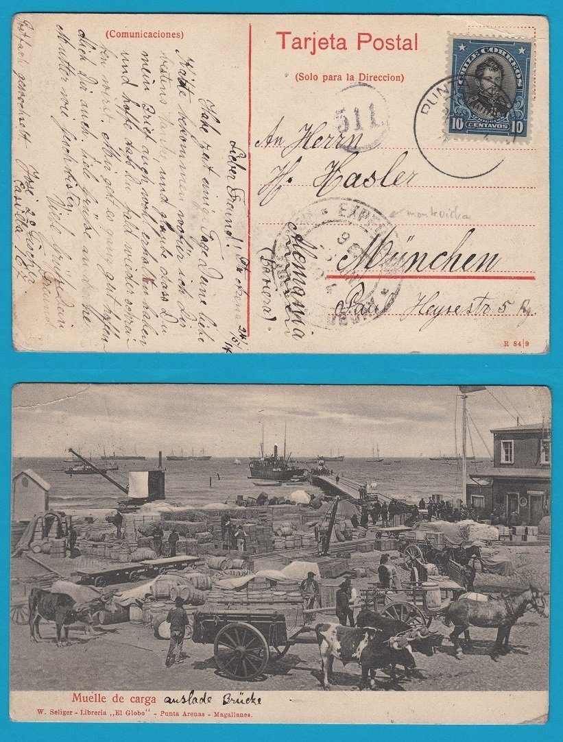 CHILE PPC 1914 Punta Arenas Muelle de Carga to Germany