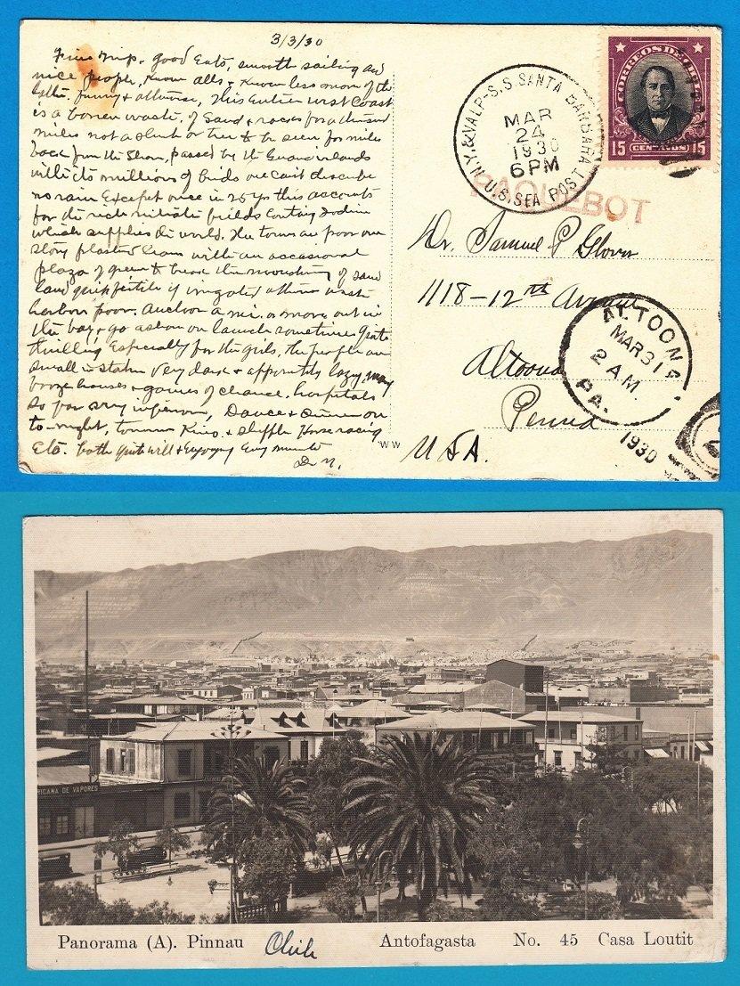 CHILE ppc Antofagasta by US Sea post S.S. Sta Barbara