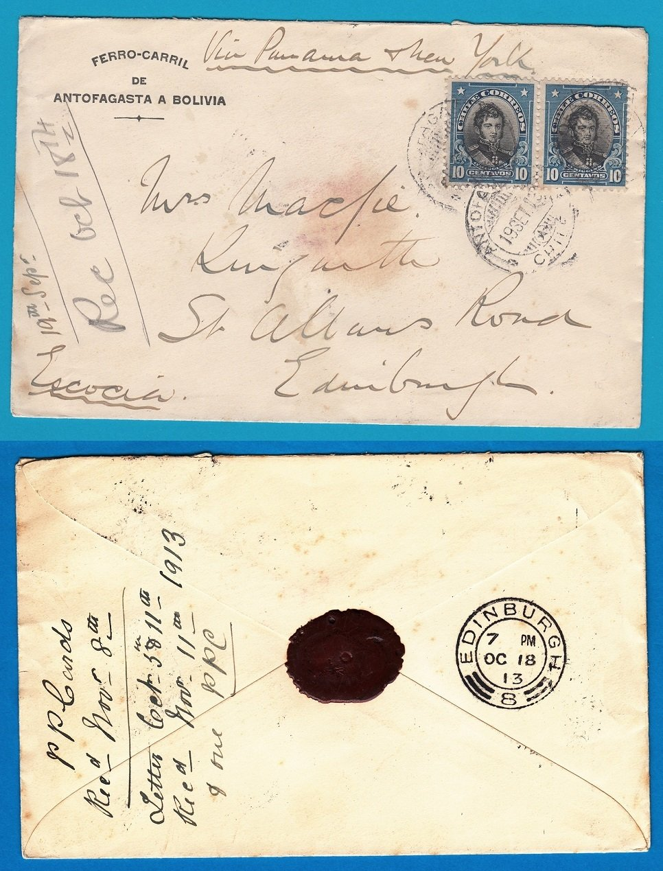 CHILE cover Ferrocarril Antofagasta 1913 to Scotland