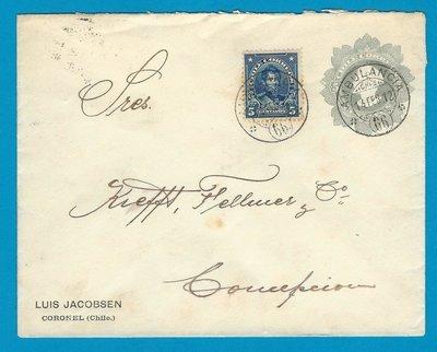 CHILE envelope 1912 Coronel with Ambulancia 66