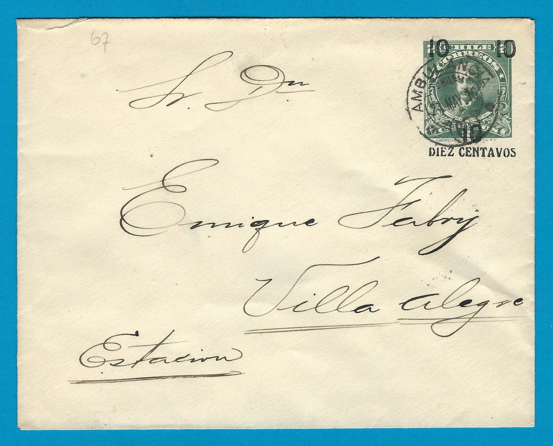 CHILE postal envelope 1916 with Ambulancia 67