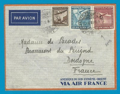 CHILE Air France cover 1939 with Ambulancia St Fé