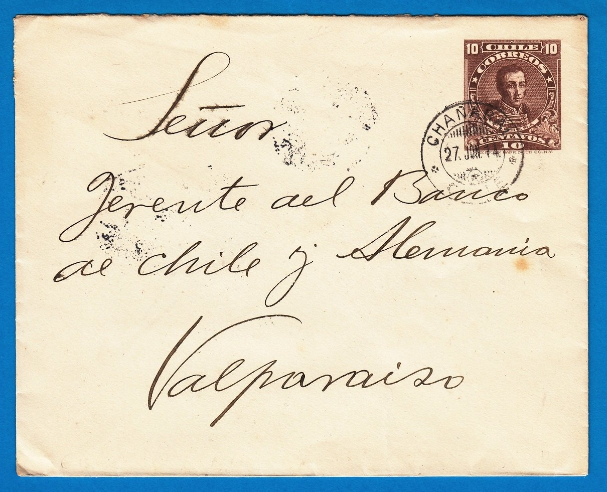 CHILE cover 1914 Chañaral to Valparaiso
