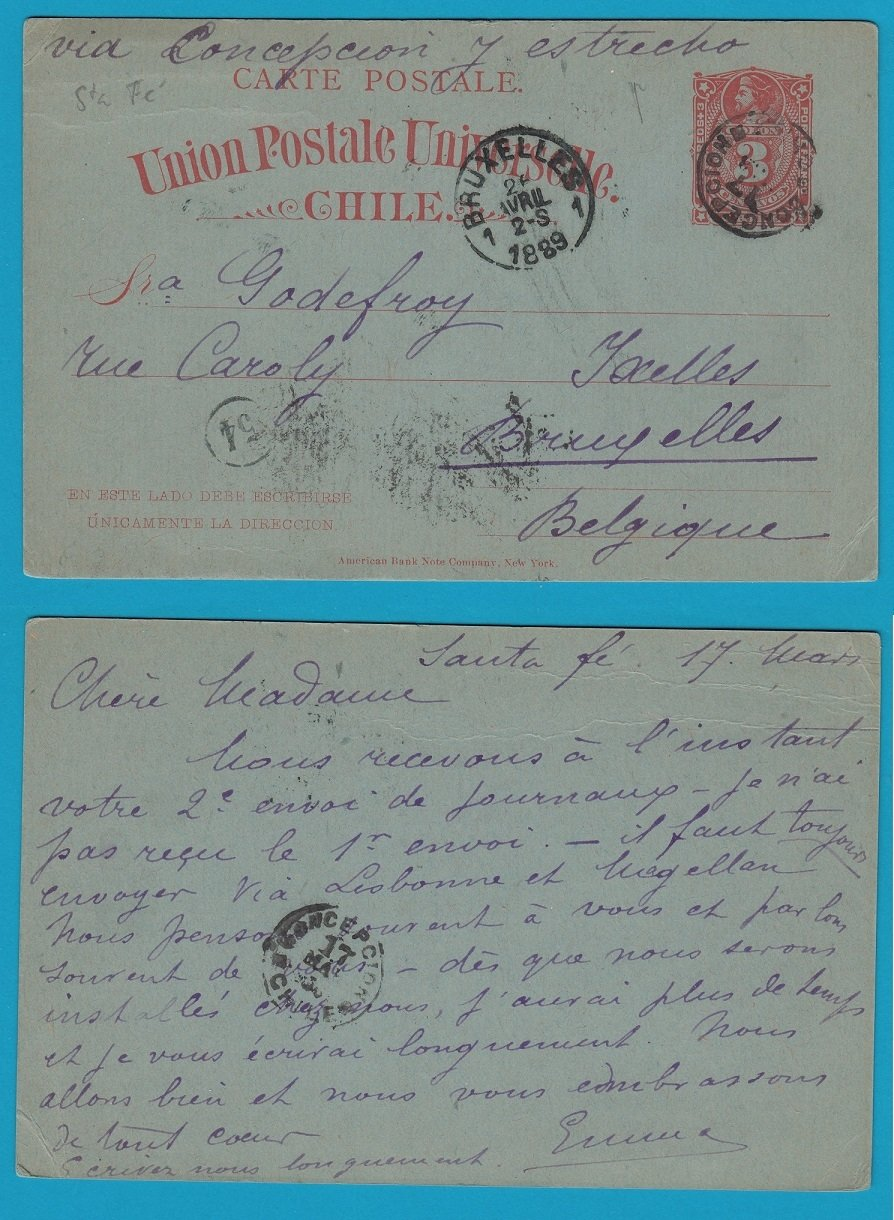 CHILE postal card 1889 Sta Fé to Belgium