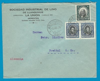 CHILE cover 1928 La Union with Ambulancia 82 to Germany