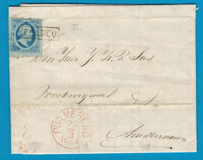 NEDERLAND brief 1864 Purmerend naar Amsterdam