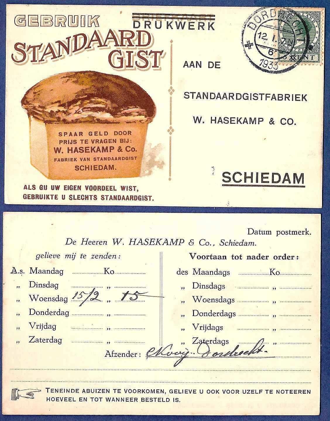 NEDERLAND drukwerk 1933 Dordrecht naar Schiedam brood reclame