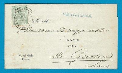 NEDERLAND drukwerk 1874 's Gravesande naar St Geertruid