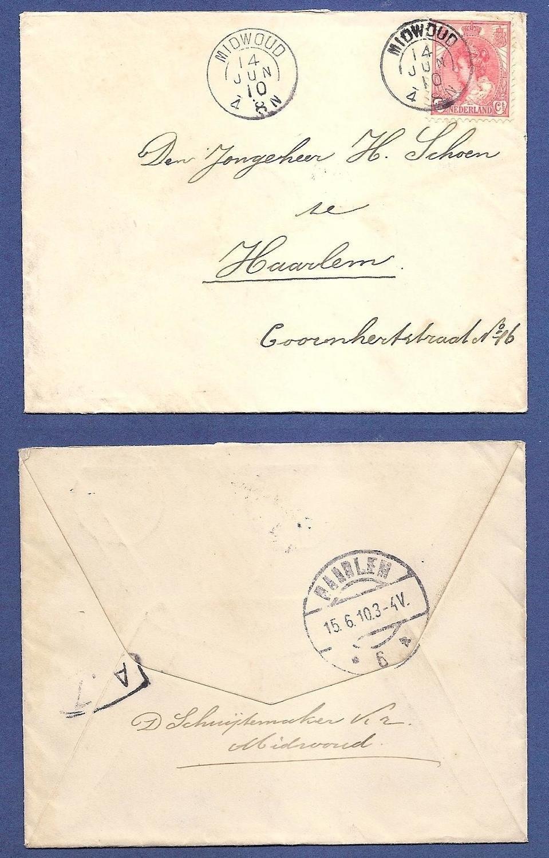 NEDERLAND brief 1910 Midwoud kleinrond