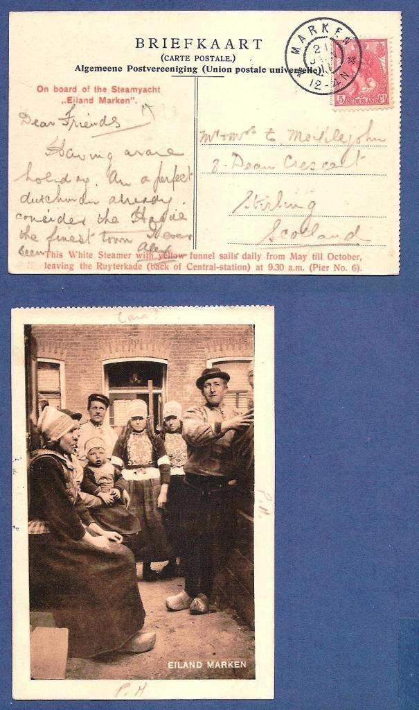 NEDERLAND prentbriefkaart 1911 Marken