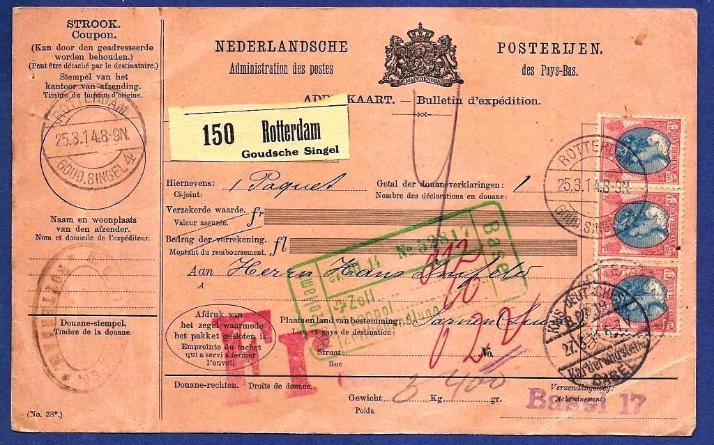 NEDERLAND pakketkaart 1913 Rotterdam