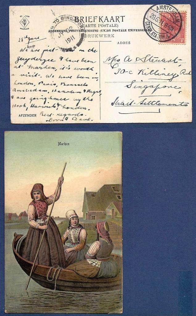 NEDERLAND prentbriefkaart Marken 1911 Amsterdam - Singapore