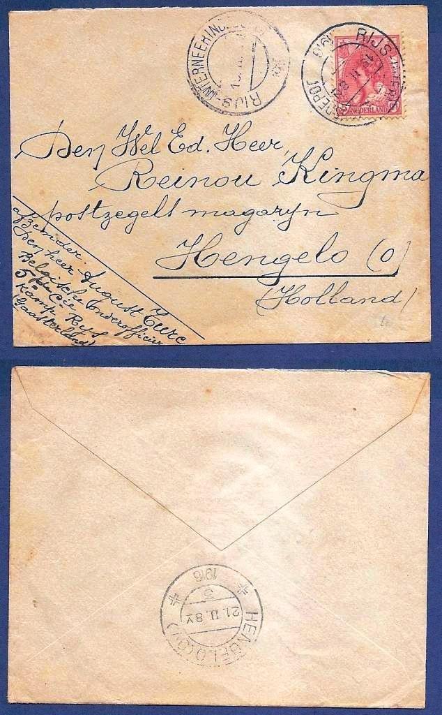 NEDERLAND brief 1916 Rijs Interneeringsdepot