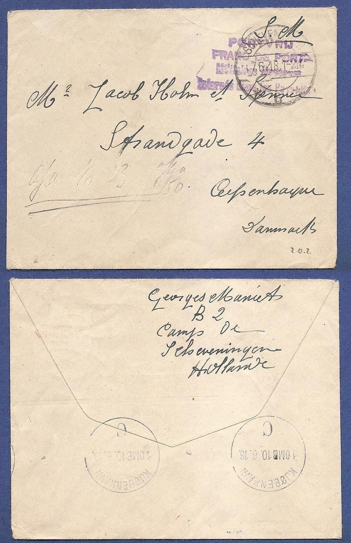 NEDERLAND brief geïnterneerde 1918 Kamp Scheveningen naar Denemarken