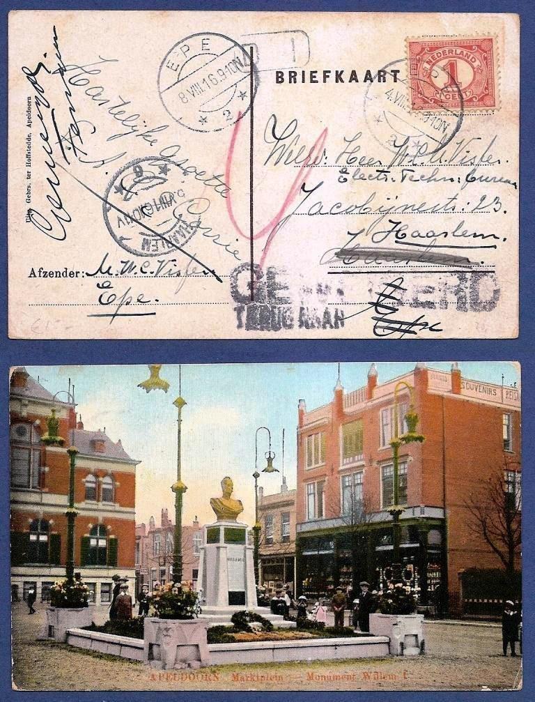 NEDERLAND prentbriefkaart 1916 Epe naar Haarlem - retour