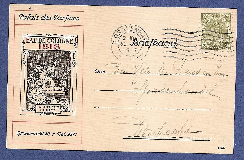 NEDERLAND briefkaart 1917 's Gravenhage met Eau de Cologne reclame