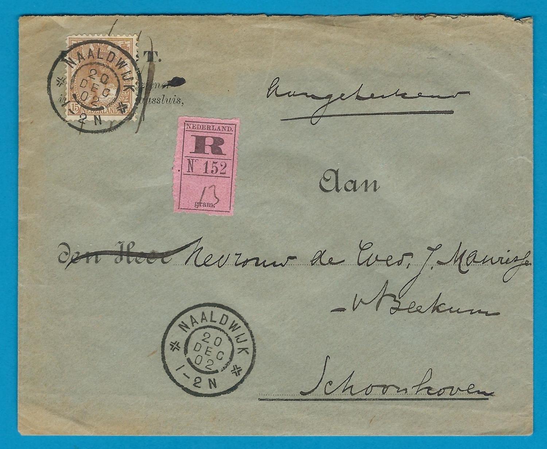 NEDERLAND R brief 1902 Naaldwijk naar Schoonhoven