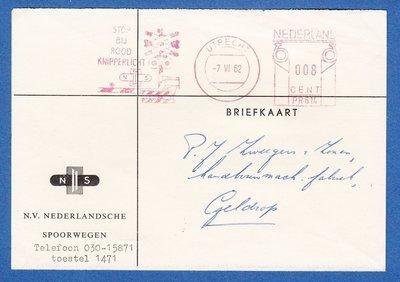 NEDERLAND NS kaart 1962 Utrecht met roodfrankering spoorbomen