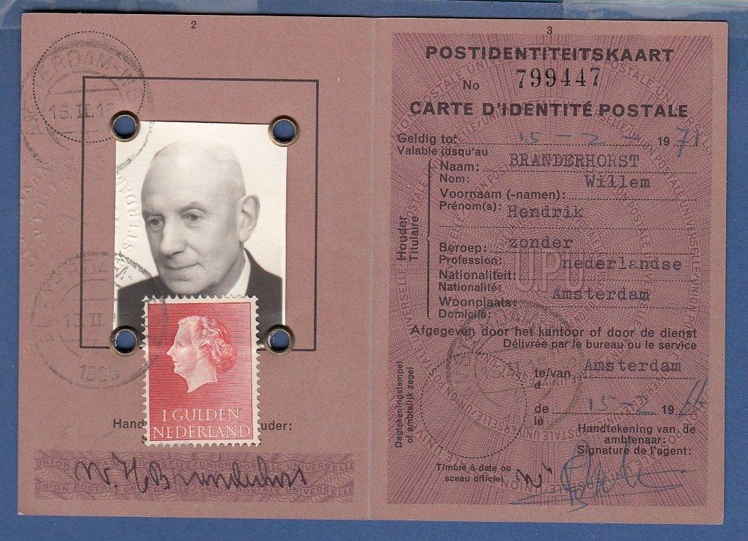 NEDERLAND identiteitsbewijs 1966 Amsterdam met 1Gld enkelfrankering