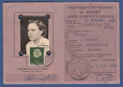 NEDERLAND identiteitsbewijs Bussum 1960