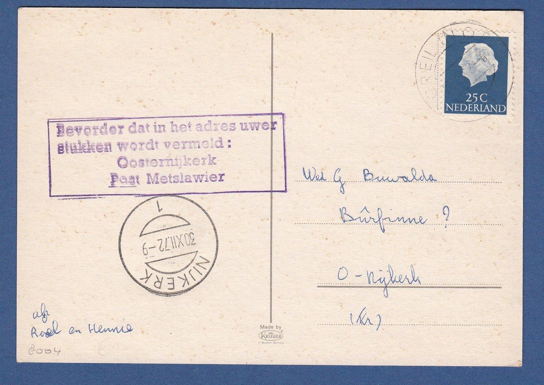 NEDERLAND kaart 1972 Creil NOP naar O-Nijkerk