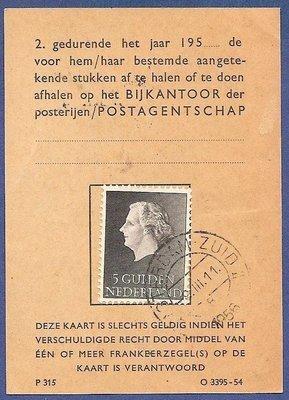 NEDERLAND postbuskaart 1956 Amsterdam