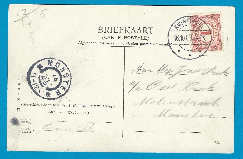 NEDERLAND prentbriefkaart 1908 Kwintsheul naar Monster