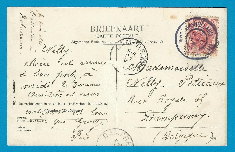 NEDERLAND prentbriefkaart 1911 Schansbrug met treinstempel
