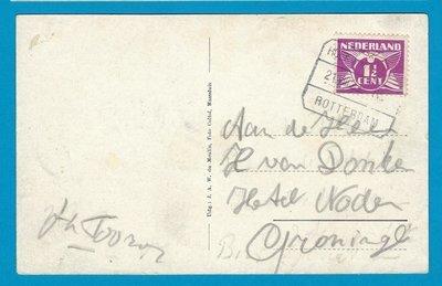 NEDERLAND prentbriefkaart 1929 Hoek van Holland treinstempel