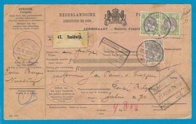 NEDERLAND pakketkaart 1912 Naaldwijk