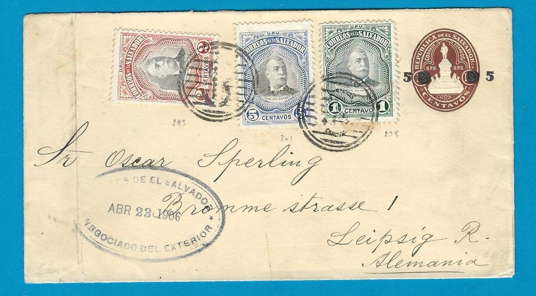 EL SALVADOR uprated envelope 1906 San Salvador to Leipzig