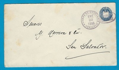 EL SALVADOR envelope 1895 Acajutla to San Salvador