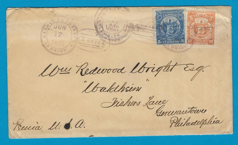 EL SALVADOR cover 1895 La Union to USA
