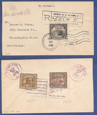 EL SALVADOR R airmail cover 1945 FDC 1 Colon to USA