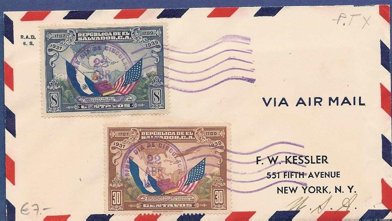 EL SALVADOR airmail cover 22 Abr 1938 San Salvador FDC
