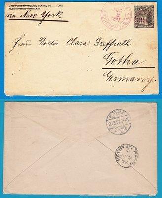 EL SALVADOR postal envelope 1897 Sonsonate to Germany