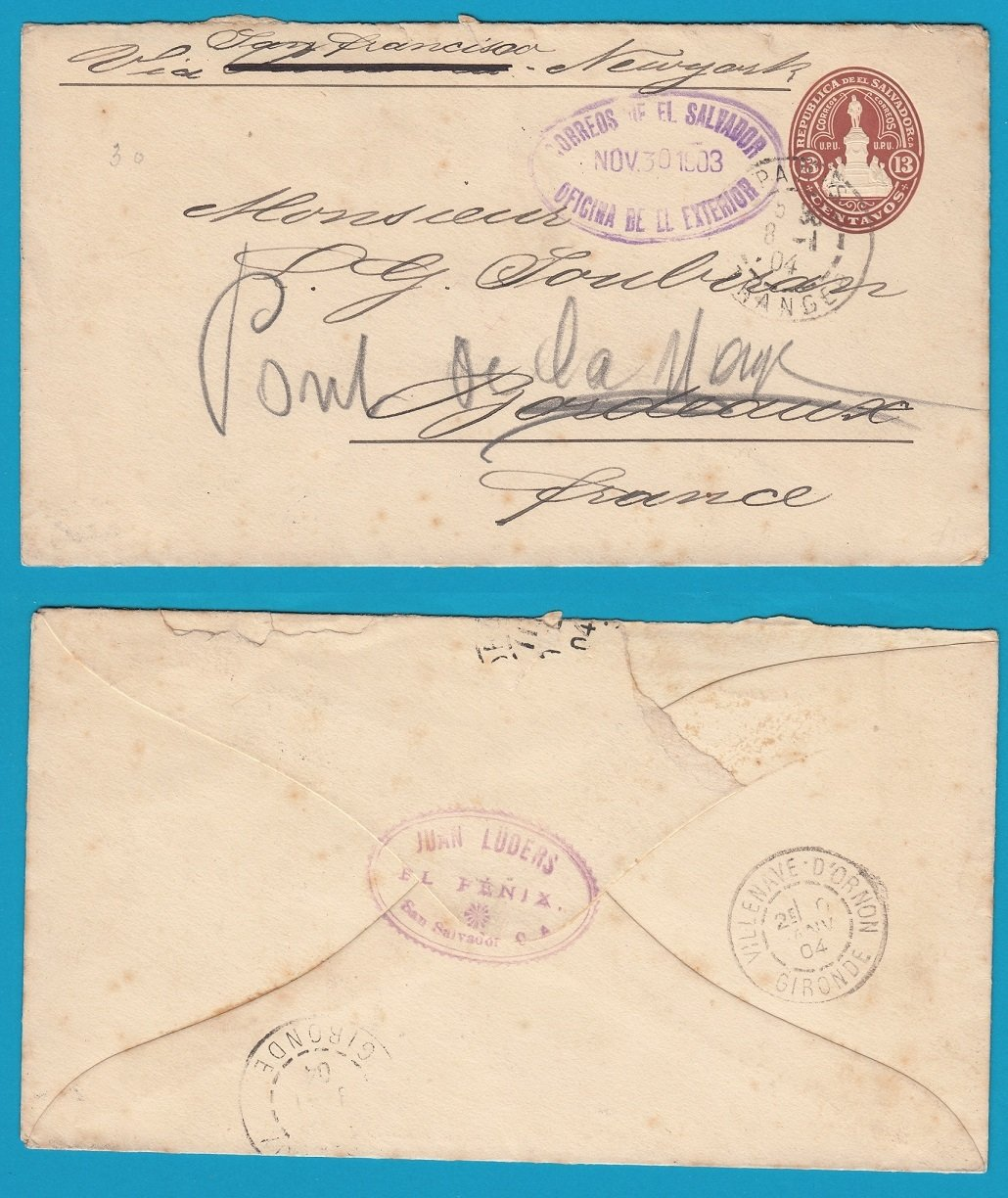 EL SALVADOR postal envelop 1903 San Salvador to France