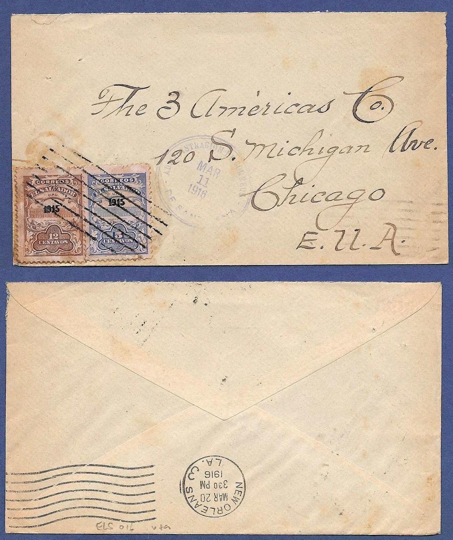 EL SALVADOR cover 1916 Santa Ana to USA