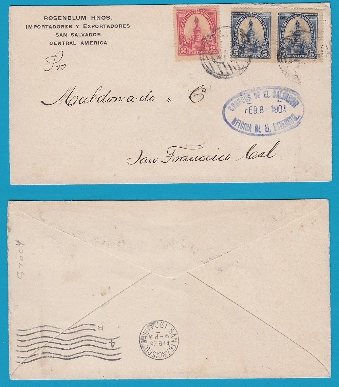 EL SALVADOR cover 1904 San Salvador to USA