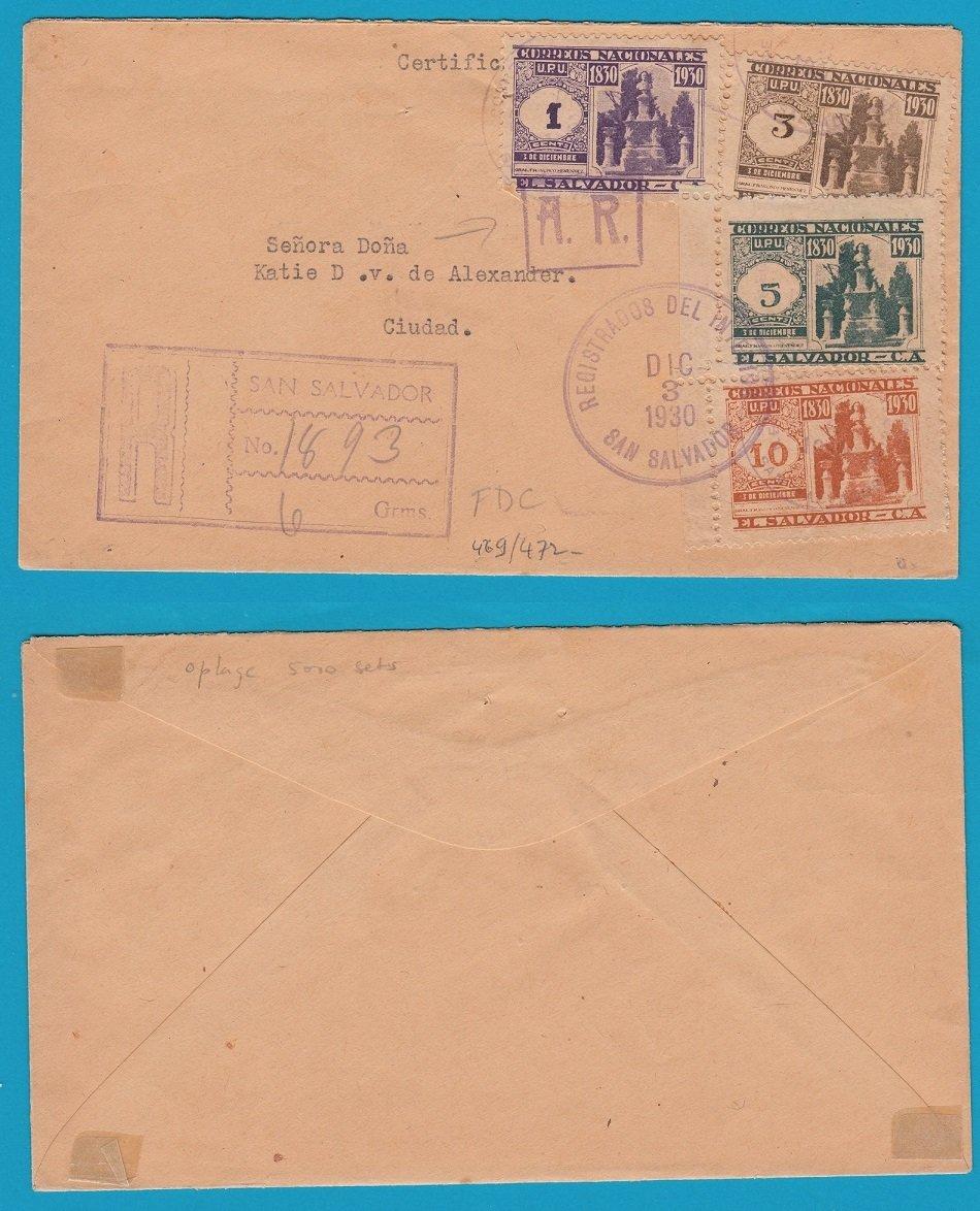 EL SALVADOR AR FDC 1930 San Salvador