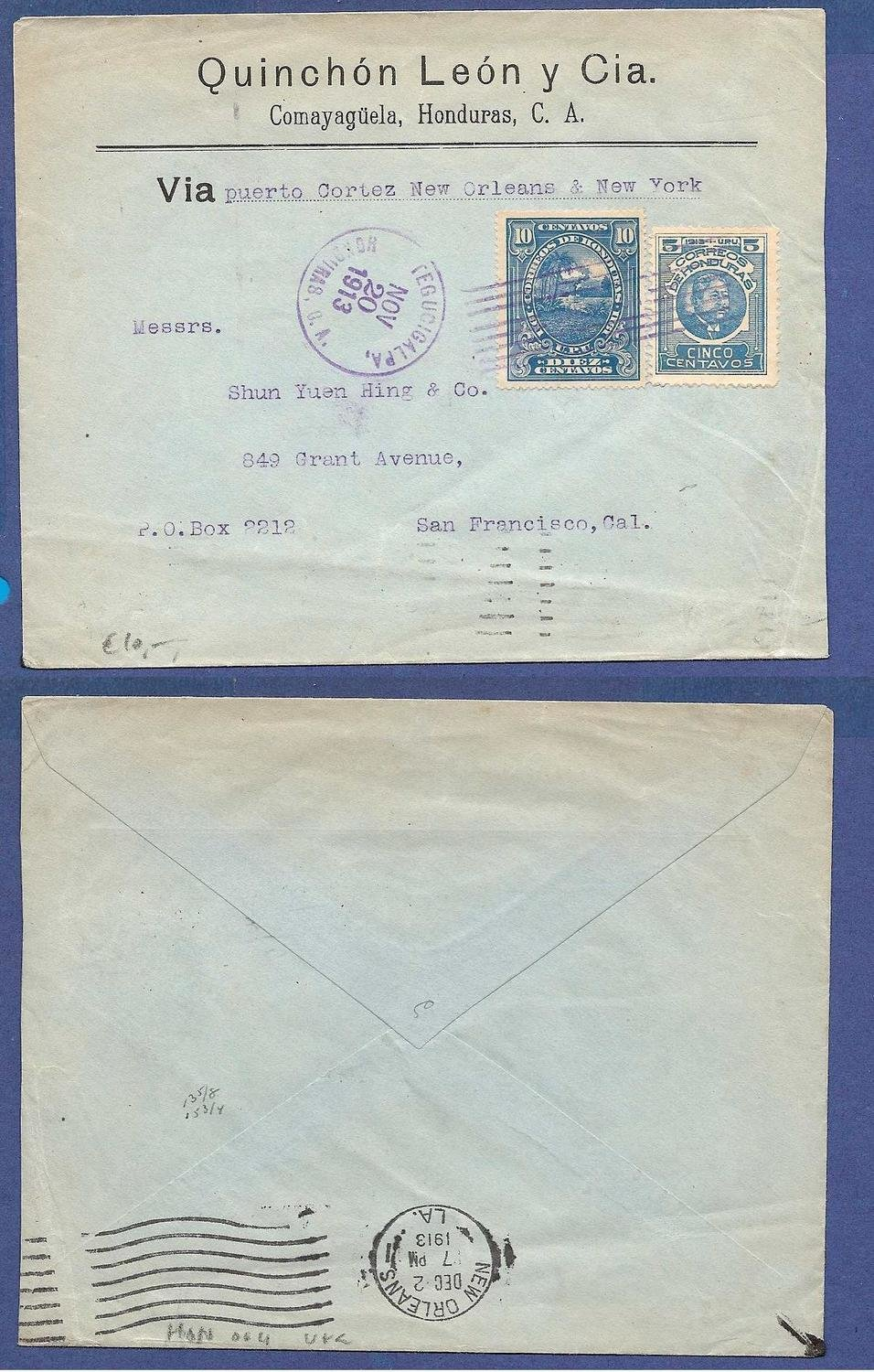 HONDURAS cover 1913 Tegucigalpa to USA